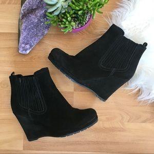 Prada black suede ankle wedge heel bootie